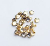 Gold Crystal Rivets ~  x 10
